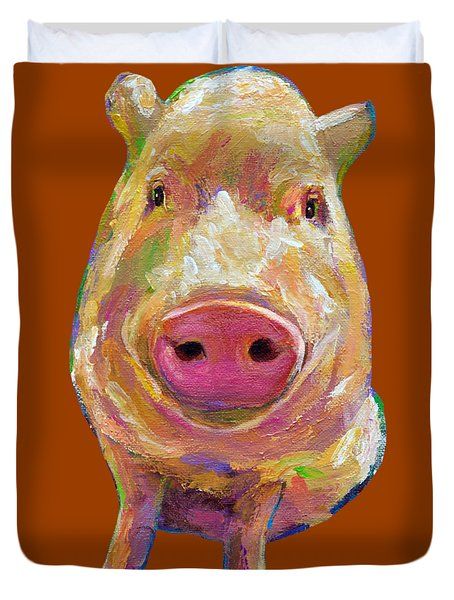 Colorful Pig Painting Duvet Cover