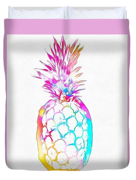 Colorful Pineapple Duvet Cover by Dan Sproul