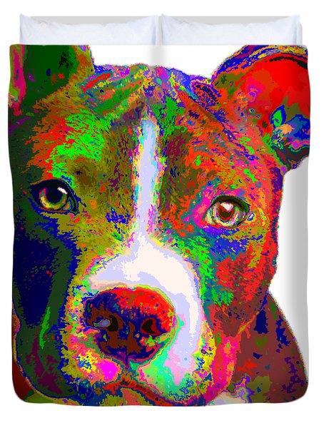 Colorful Pit Bull Terrier  Duvet Cover