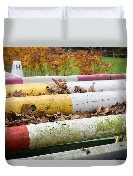 Duvet Cover featuring the photograph Colorful Poles by Hans Engbers