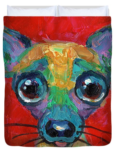 Colorful Pop Art Chihuahua Painting Duvet Cover