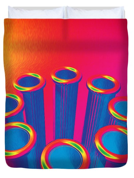Colorful Pop Art Cylinders Duvet Cover
