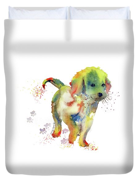 Colorful Puppy Watercolor - Little Friend Duvet Cover by Melly Terpening