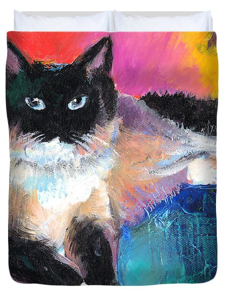 Colorful Ragdoll Cat Painting Duvet Cover by Svetlana Novikova