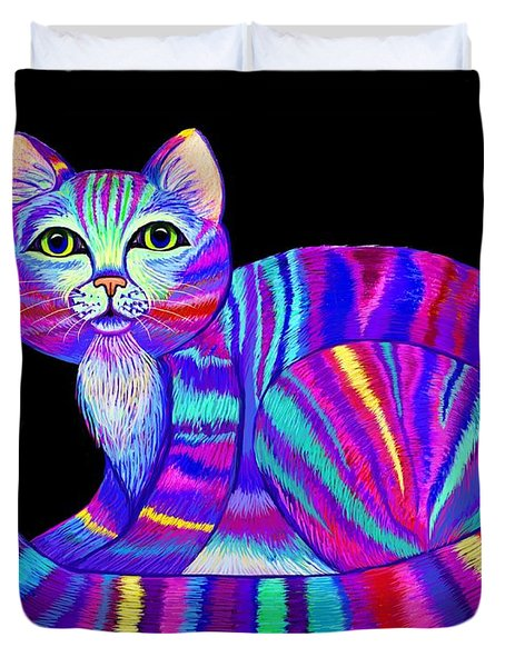 Colorful Rainbow Kitty Duvet Cover