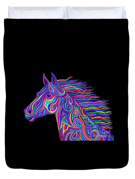 Colorful Rainbow Stallion  Duvet Cover