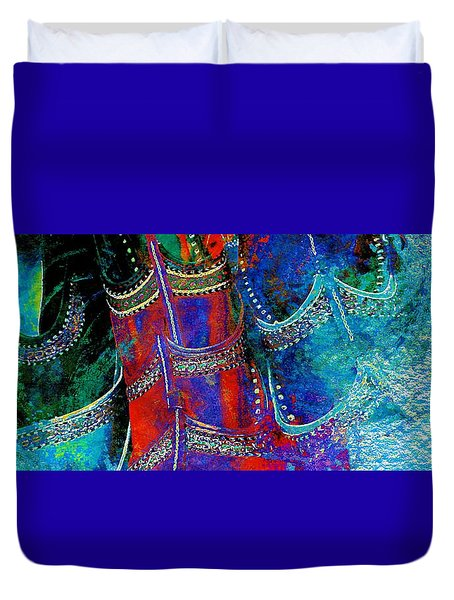 Colorful Red Blue Shoes Shopping Is Fun Wide Abstract Watercolor 4e Duvet Cover
