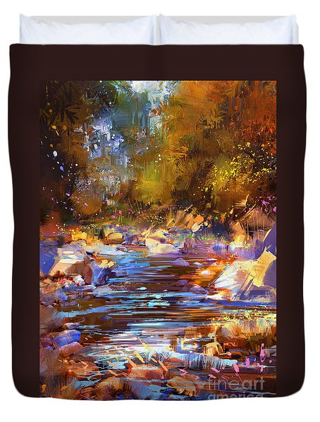 Colorful River Duvet Cover
