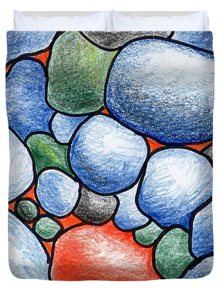Colorful Rock Abstract Duvet Cover by Nancy Mueller