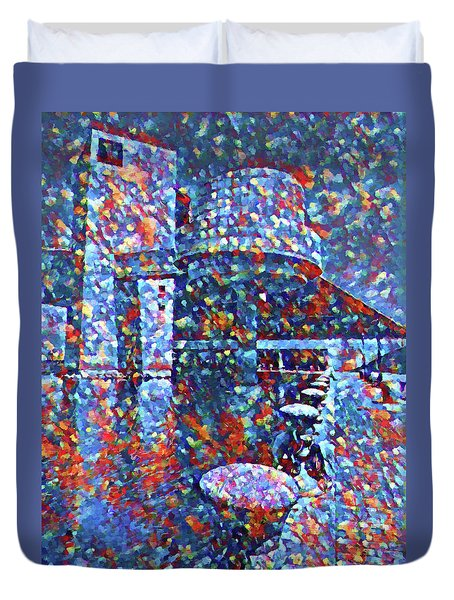 Duvet Cover featuring the painting Colorful Rock And Roll Hall Of Fame Museum by Dan Sproul