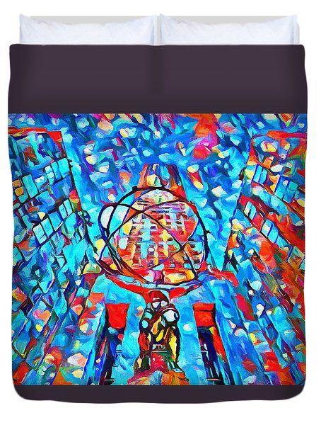 Duvet Cover featuring the painting Colorful Rockefeller Center Atlas by Dan Sproul