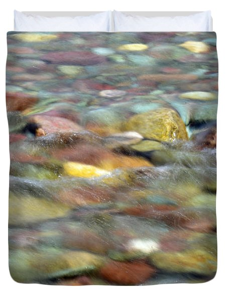 Colorful Rocks In Two Medicine River In Glacier National Park Duvet Cover