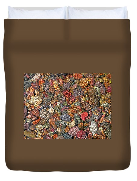 Colorful Rocks In Stream Bed Montana Duvet Cover