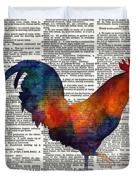 Colorful Rooster On Vintage Dictionary Duvet Cover