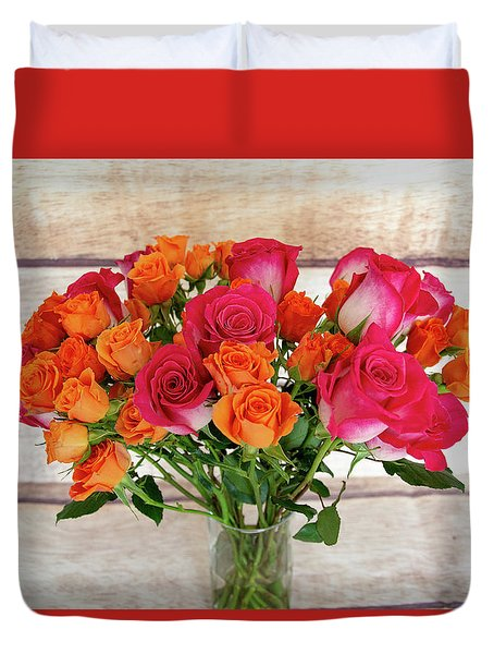 Colorful Rose Bouquet Duvet Cover