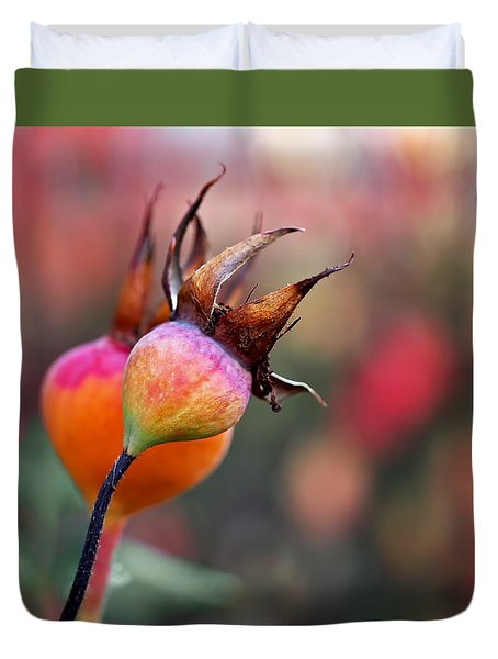 Colorful Rose Hips Duvet Cover by Rona Black