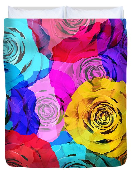 Colorful Roses Design Duvet Cover by Setsiri Silapasuwanchai