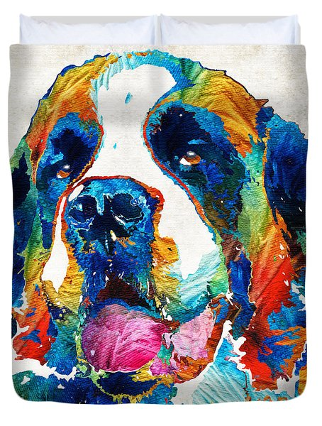 Colorful Saint Bernard Dog By Sharon Cummings Duvet Cover