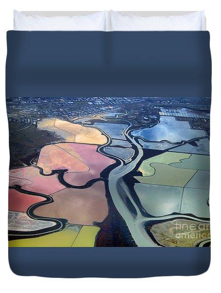 Colorful Salt Evaporation Ponds In San Franccisco Bay Area Duvet Cover