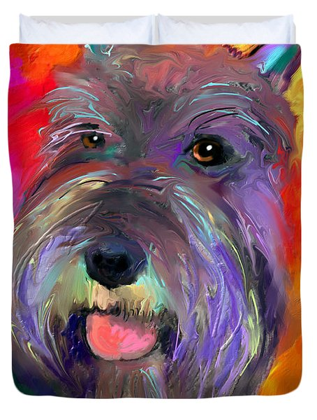 Colorful Schnauzer Dog Portrait Print Duvet Cover