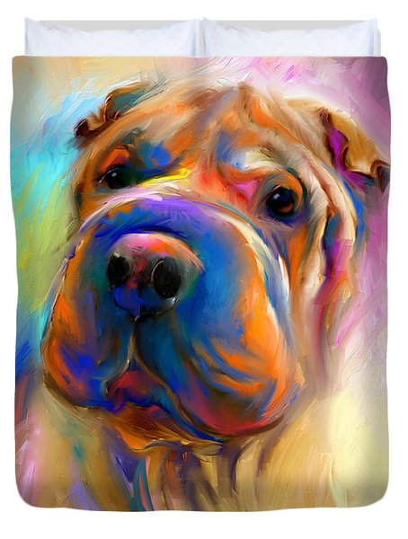 Colorful Shar Pei Dog Portrait Painting  Duvet Cover