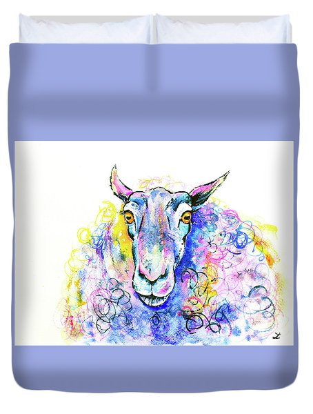 Duvet Cover featuring the painting Colorful Sheep by Zaira Dzhaubaeva