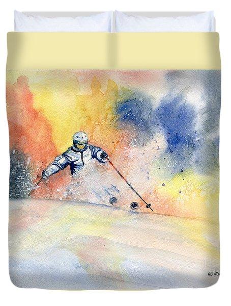 Colorful Skiing Art 2 Duvet Cover