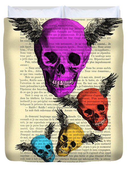 Colorful Rainbow Skull With Wings Illustration On Book Page Duvet Cover
