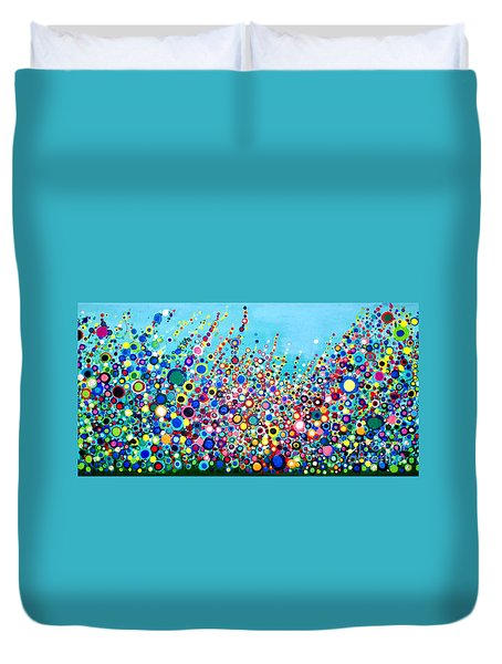 Duvet Cover featuring the painting Colorful Spring Flowers by Maja Sokolowska