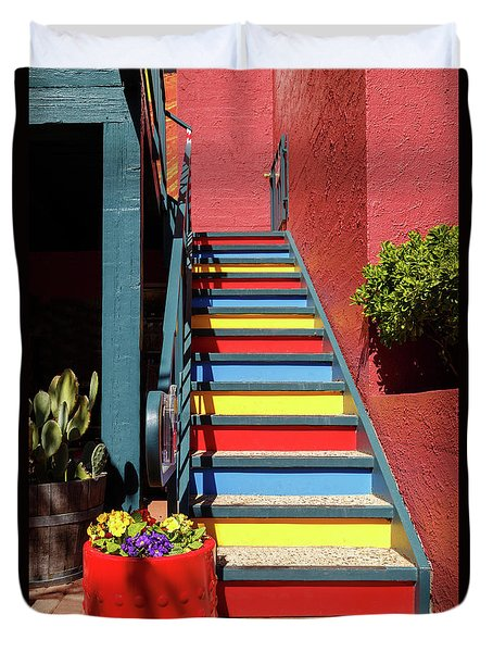Colorful Stairs Duvet Cover by James Eddy