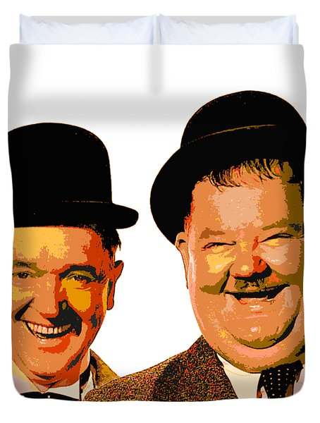 Colorful Stan And Ollie  Duvet Cover