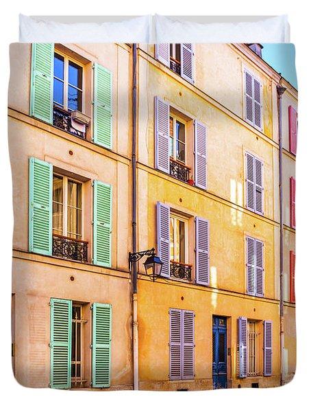 Colorful Street In Paris Duvet Cover