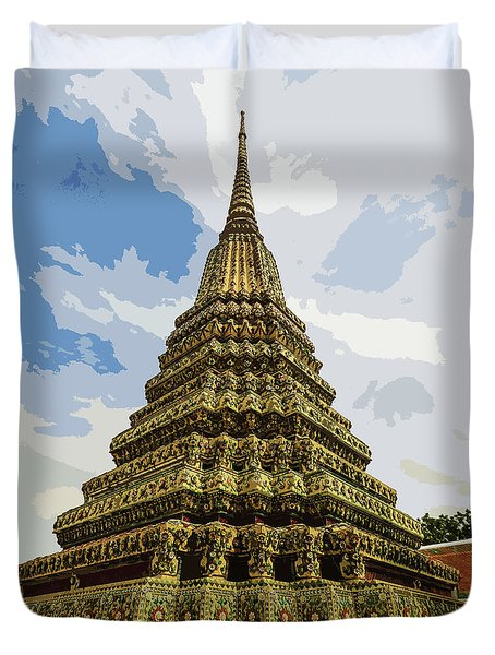 Colorful Stupa At Wat Pho Duvet Cover