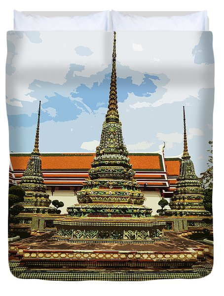 Colorful Stupas At Wat Pho Duvet Cover
