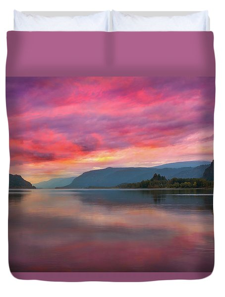 Colorful Sunrise At Columbia River Gorge Duvet Cover by David Gn