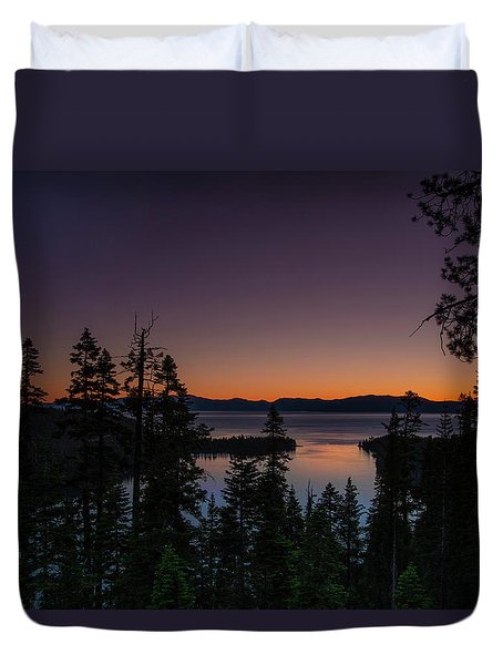 Colorful Sunrise In Emerald Bay Duvet Cover