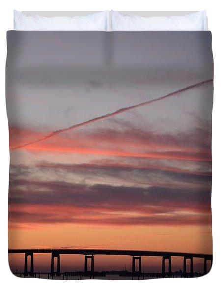 Colorful Sunrise Over Navarre Beach Bridge Duvet Cover by Jeff at JSJ Photography