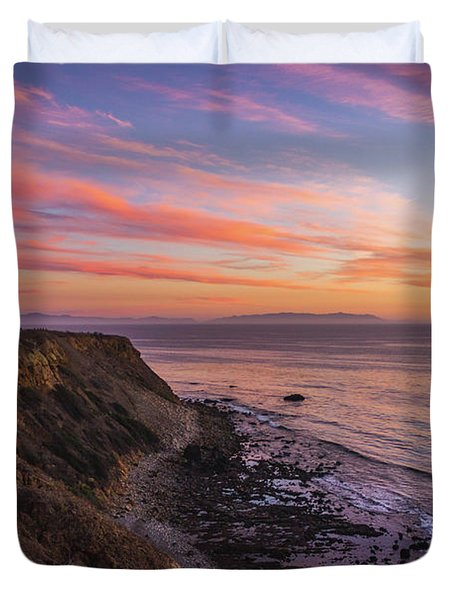 Colorful Sunset At Golden Cove Duvet Cover