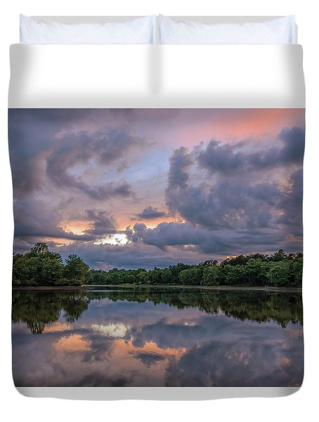 Duvet Cover featuring the photograph Colorful Sunset At The Lake by Lori Coleman