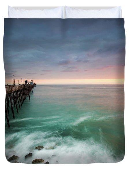 Colorful Sunset At The Oceanside Pier Duvet Cover