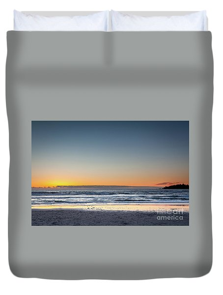 Colorful Sunset Over A Desserted Beach Duvet Cover
