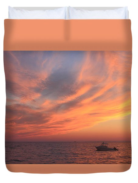 Colorful Sunset Over Cape Cod Bay Duvet Cover