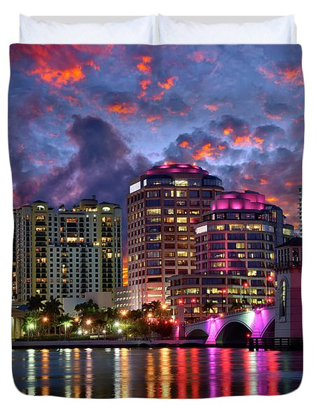 Colorful Sunset Over Downtown West Palm Beach Florida Duvet Cover