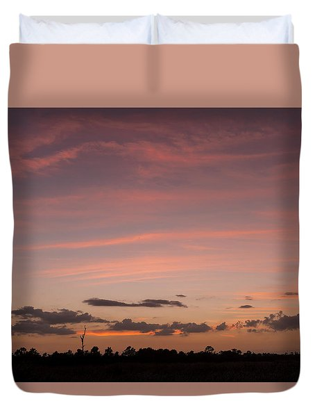 Colorful Sunset Over The Wetlands Duvet Cover