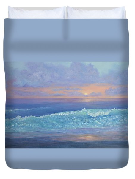Cape Cod Colorful Sunset Seascape Beach Painting With Wave Duvet Cover