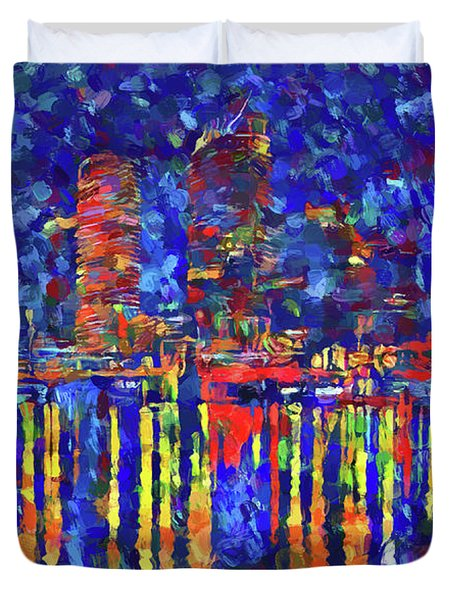 Colorful Tampa Bay Skyline Duvet Cover
