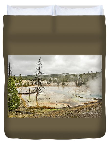 Duvet Cover featuring the photograph Colorful Thermal Pool by Sue Smith