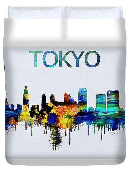 Colorful Tokyo Skyline Silhouette Duvet Cover by Dan Sproul