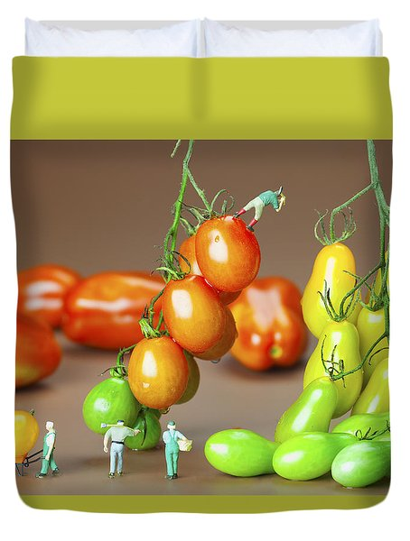 Duvet Cover featuring the photograph Colorful Tomato Harvest Little People On Food by Paul Ge