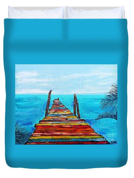 Colorful Tropical Pier Duvet Cover
